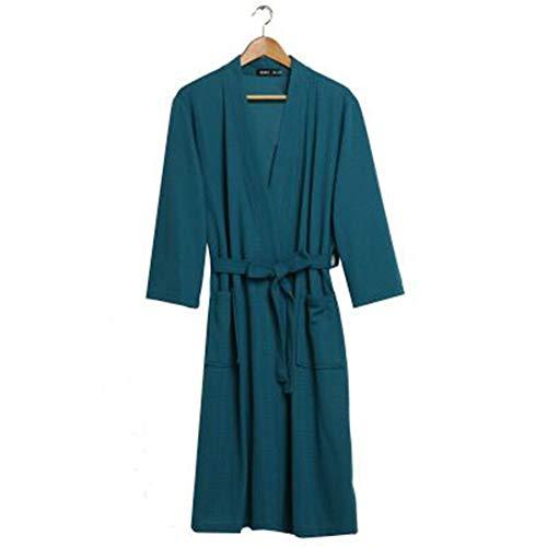 QMMCK Badjas Vrouwelijk dunne wafel paar nachthemd mannelijk en vrouwelijk korte mouwen voor de lente en zomer water absorberende badjas