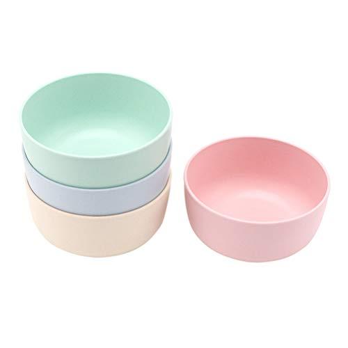 Hemoton 4 Piezas de Cuencos de arroz de Fibra de bambú Cuenco Simple para el hogar Plato de Sopa de arroz para Mujeres Hombres