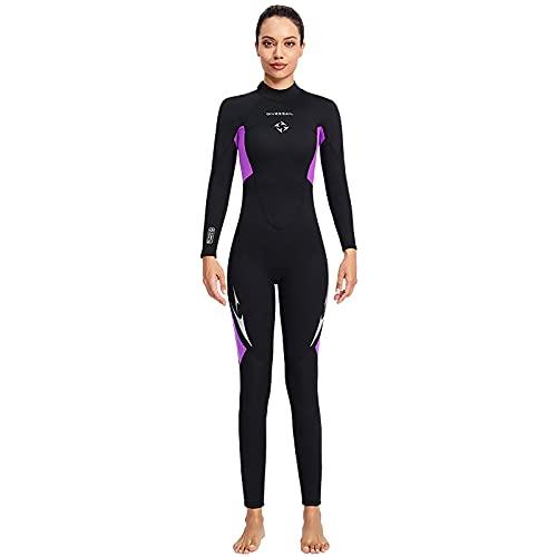 RJFYPX Traje de neopreno de manga larga de 3 mm, adecuado para hombres y mujeres de agua fría, buceo, snorkeling, surf, natación, kayak, morado femenino, pequeño