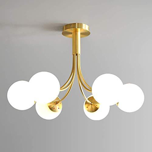 Lustre en boule de verre nordique Sputnik suspension, 6 lumières E26 Globe plafonnier encastré moderne décor intérieur luminaires Branches lustre pour chambre couloir salle à manger