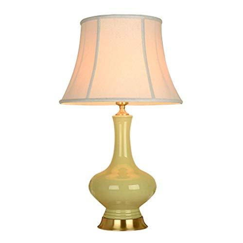 Maison Créativité keramische lamp voor slaapkamer, tafellamp, modern, minimalistisch, hotel, theater, decoratie, Nordic hand, tafellamp, stof, lampenkap, T-D Geel.