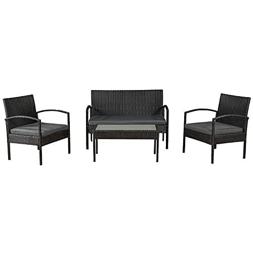 ArtLife Polyrattan Gartenmöbel-Set Trinidad schwarz – Sitzgruppe mit Tisch, Sofa & 2 Stühlen - Balkonmöbel für 4 Personen mit Creme-weißen Auflagen