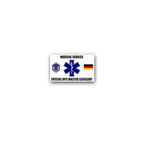 Aufkleber / Sticker -Medical Service Special Ops Master Sergeant MSG Stabsfeldwebel Dienstgrad Streitkräfte Sanitäter Sani Deutschland Bundeswehr US Army Medic Militär Wappen Abzeichen 11x7cm #A3595