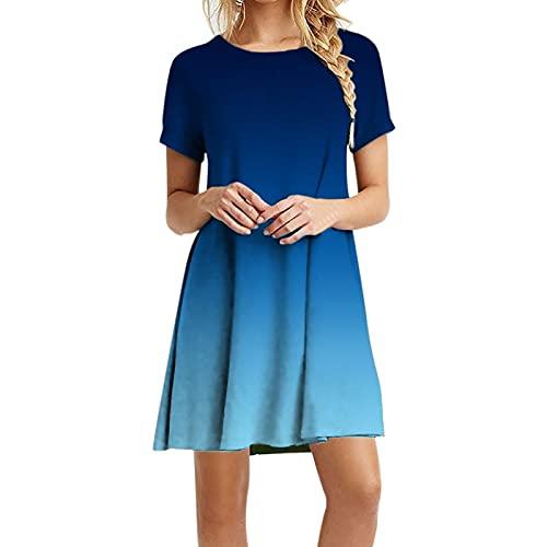 MPUOYHK Vestidos de verano para mujer, tallas grandes, estampado floral, vestido suelto con bandera, vestido casual bohemio, vestido informal de playa (color : C, tamaño: XL)