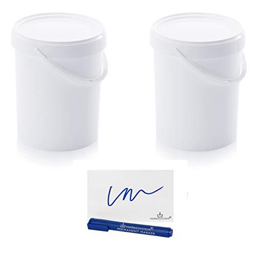 MARKESYSTEM Cubo HERMÉTICO Catering Pack 2 x 15,9 litros - Cubos de Plástico con Tapa - Contenedores Apilables - Envasar Alimentos, Líquidos y Pinturas - Polipropileno Blanco + Kit Etiquetado