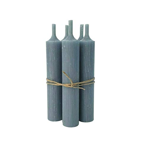 Homes on Trend Candlestick Holders or Set of 6 Candles Decorative Small Antique Finish Table Décor (Set of 6 Dusty Blue Candles)