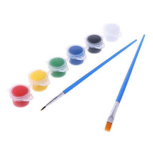 Pintura al óleo Herramientas Arte Suministro 6 Colores Acrílicos Pinturas W/2 Cepillos Nail Art Wall
