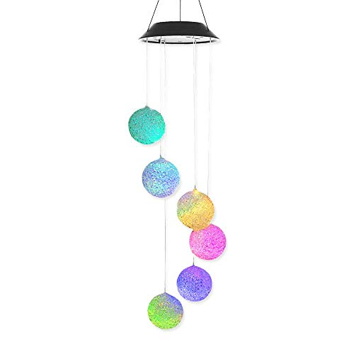 Variation de couleur Solar Power Wind Mobile, Anzome spirale Spinner Carillon Portable extérieur décoratifs romantique Windbell lumière pour terrasse, cour, jardin, maison, allée