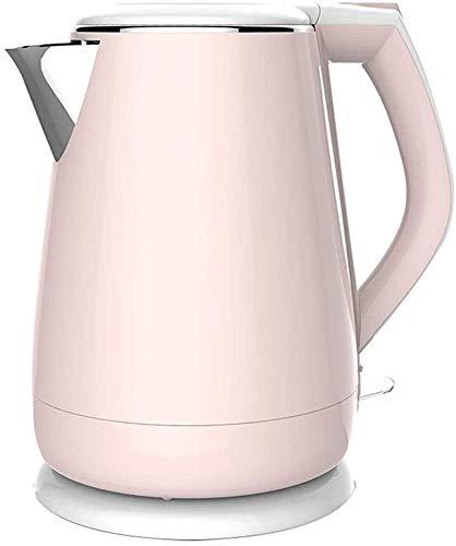 Bouilloire induction Théière rose Bouilloire électrique double paroi Cool Teach Tea Bouilloire en acier inoxydable sans fil Protection contre la surchauffe inoxydable WHLONG