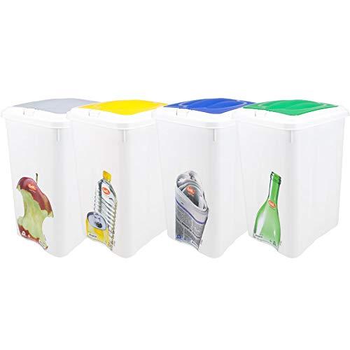 TIENDA EURASIA® Pack 4 Cubos de Basura de Reciclaje para el Hogar - Sistema de Apertura Easy Touch - Tapas de Color y Vinilo Decorado - Cubos de 21L