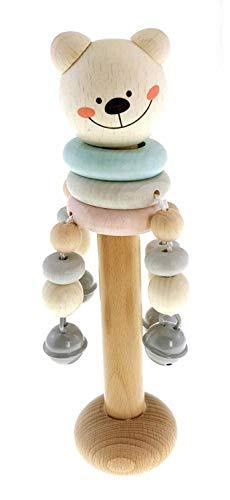 Hess Holzspielzeug 10128461 Schellenstab Bär nature, Rassel aus Holz, ab 3 Monaten, ca. 24 x 8 x 6 cm, Geschenk zur Geburt oder Taufe, mehrfarbig, 120 g