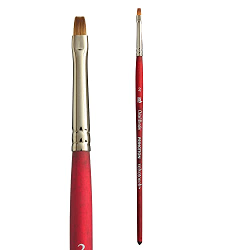 Princeton Velvetouch Artiste, Mixed-Media Brush for Acrylic, Watercolor & Oil, Series 3950 Chisel Blender Luxury Synthetic, Size 2