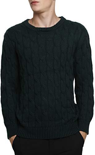 LinyXin Cashmere Herren Kaschmir Pullover Wolle Rundhals Warm Lose Langarm Freizeit Winter Pulli Sweater (XL, Grün)