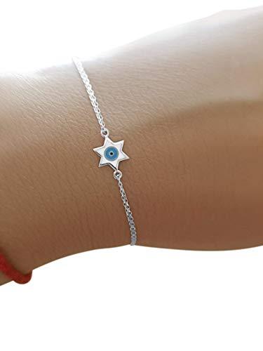 Jewish Star of David and Evil Eye Bracelet in 925 Sterling Silver...