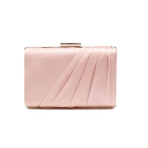 A-myt ist stilvoll und vielseitig Damen Tasche Simulation Seide Plissee Satin Kupplung Einzigartige Persönlichkeit (Color : Pink, Size : 17.5 * 5 * 12.5)