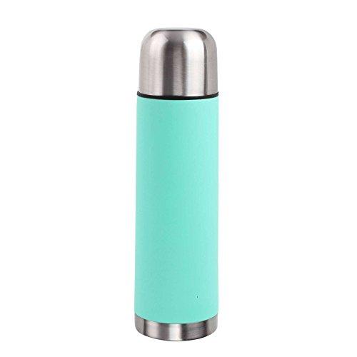 Roestvrijstalen thermoskan 500 ml inhoud met drinkbeker isoleerfles thermosfles (kleine isolatiekan, camping, reizen of kantoor, Coffe-to-Go, turquoise)
