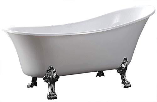 Freistehende Badewanne PARIS Acryl Weiß matt oder glänzend - 176 x 71 cm - Ohne Standarmatur, Füße:chrom, Farbe:Weiß Glänzend