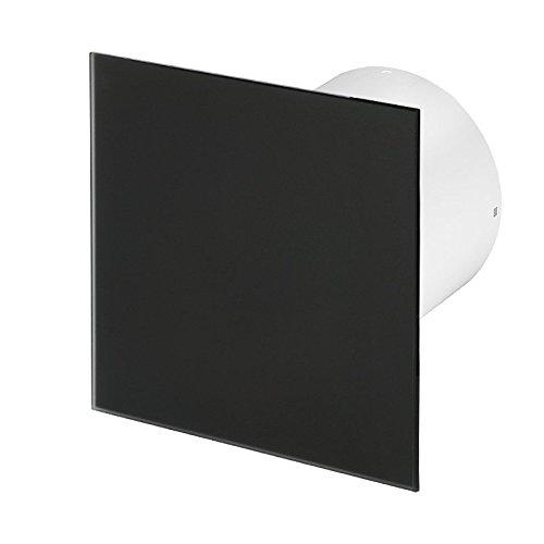 Badlüfter Wand-Ventilator Ø 100 Kugellager Silent Standard Trax Glas - Line System+ schwarz matt (schwarz matt)