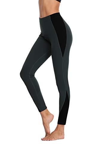 Charmo Damen Basic Blickdichte Fitnesshose Hohe Taille Laufhose Kontrastfarbe Kompression Leggings M