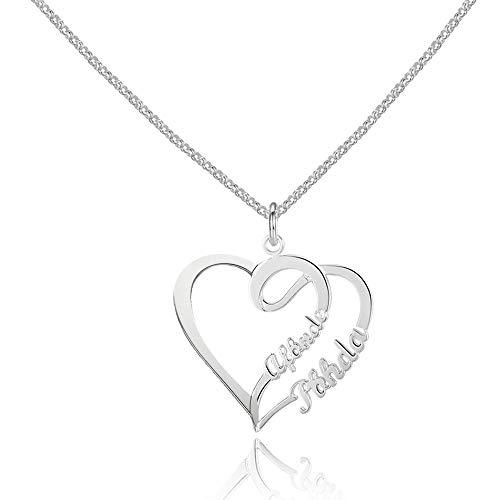 Bo&Pao Namenskette Herz 925 Sterling Silber mit Zwei Wunschnamen, individuelle Silber - Rosegold -Gold Kette mit Namen Herzanhänger