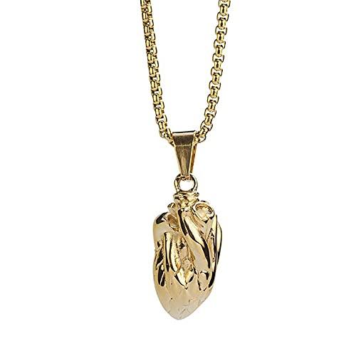 Collar de órgano del órgano del corazón de acero inoxidable Moda hombres mujeres punk rock joyería regalo para él con cadena-Oro