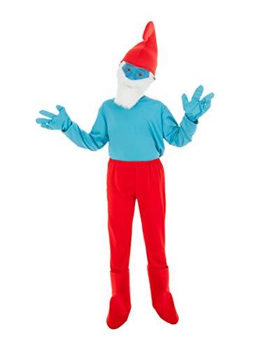 Generique - Die Schlümpfe-Papa Schlumpf Kostüm für Kinder blau-rot 140 (9-10 Jahre)
