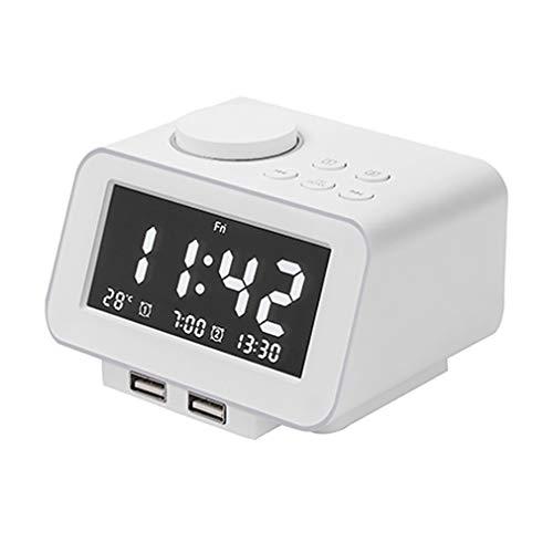 QXFJ Reloj Despertador Cabecera Carga Silenciosa TeléFono MóVil con Doble USB Pantalla Grande Reloj Despertador Inteligente Radio FM Pantalla Temperatura Ambiente En Tiempo Real