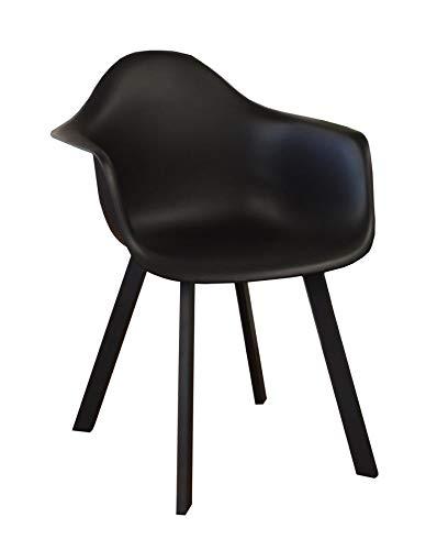 Proloisirs Lot de 4 fauteuils Design Coque Jato - Alu/résine - Noir