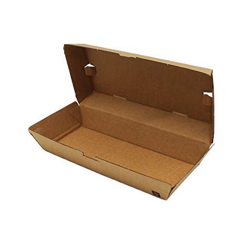 BAMI 50 Stück Hot-Dog Box Karton | Wellpappe | 200x83x64mm | 100% kompostierbar & biologisch abbaubar