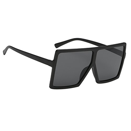 Bonarty Gafas de Sol Rectangulares Vintage para Mujer UV400 - Negro Mate de Granja Negro Lente