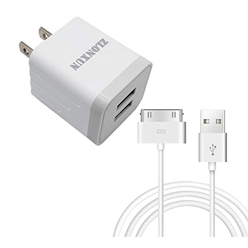 ZLONXUN Wall Charger 10W with Cable Compatible with lPhone 4/4S, lPad 3/2/1, lPod Touch 1/2/3/4