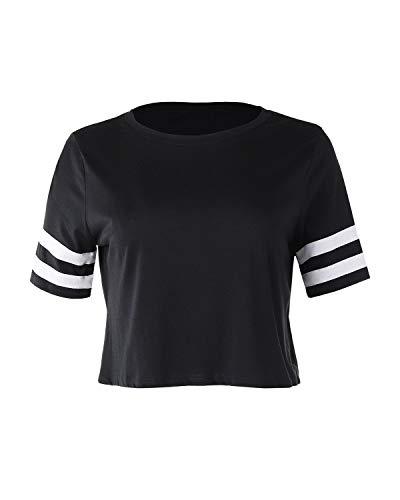 Dream Supply Damen Baseball-T-Shirt, kurzärmlig, Rundhalsausschnitt, gestreift - Schwarz - Mittel