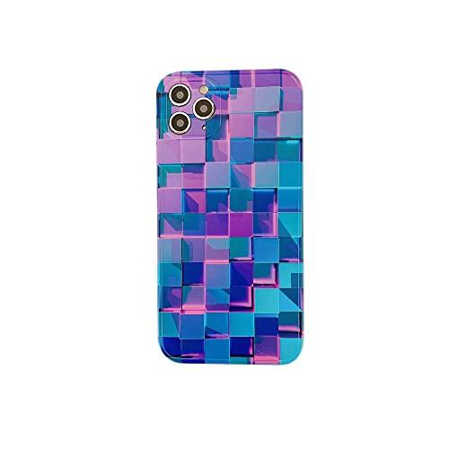 Custodia per telefono con griglia 3D per iPhone 12 Mini 11 Pro Max Fashion Creative SE 7 8 Plus X XR XS Custodia protettiva in silicone morbido a reticolo, A, per 12 (6,1 pollici)