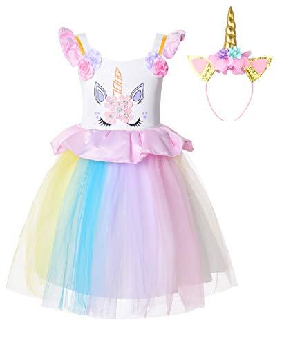 JerrisApparel Disfraz Unicornio Niña Cumpleaños Princesa Boda Fiesta Vestido (7-8 años, 1)