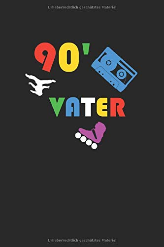 90' Vater: A5 Notizbuch Demi Raster / Karo / Kariert 120 Seiten für Fans der 90ziger Jahre und alle junggebliebene. I Geschenkidee für Retro Fans