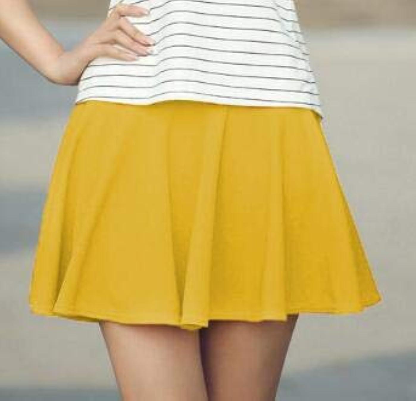 プレミアムバンジョーぼかしYMKCBB 短いスカート 夏のソリッドカラープリーツスカートミニショートスカートハイウエスト弾性レディーススカート女の子チュチュスクールボールガウンXxxlイエロー