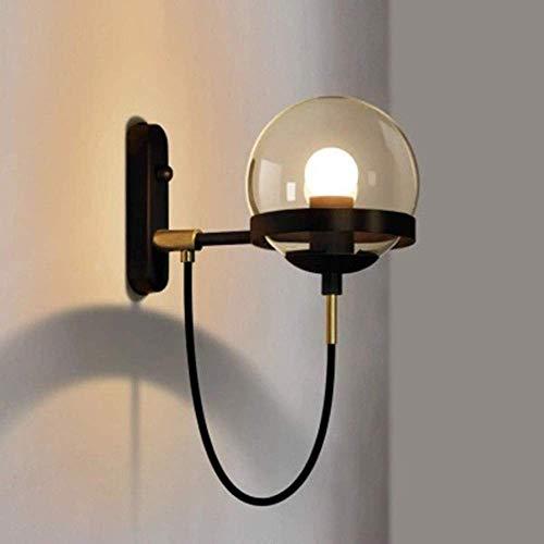 LLLKKK Lámpara de pared Nordic Retro Restaurante Postmoderno Bedside Industrial Windkreis Forja Bola de cristal Lámpara de pared