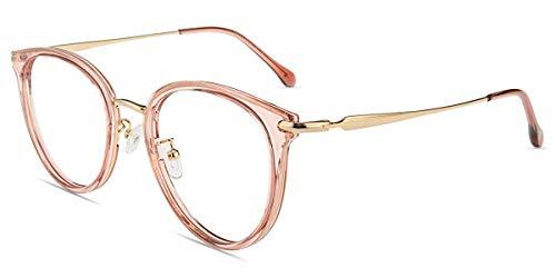 Firmoo Blaulicht Brille Entspiegelt ohne Sehstärke Damen, Vintage Blaulichtfilter Computer Brille gegen Kopfschmerzen Augenschutz, Runde Blaulicht UV Schutzbrille