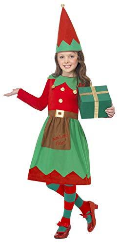 Smiffys Costume elfe du Père Noël pour enfant, Rouge et vert, avec robe et chapeau