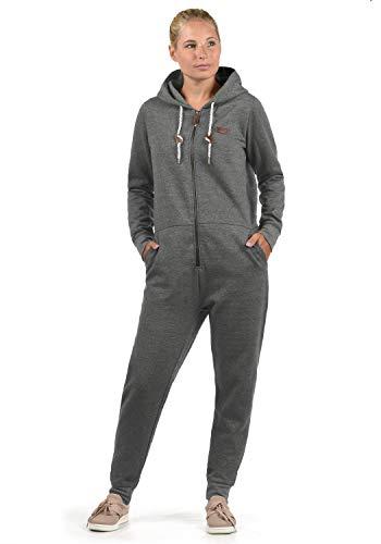 DESIRES OVA Damen Jumpsuit Overall Einteiler Aus Sweatmaterial Mit Kapuze, Größe:XL, Farbe:Grey Melange (8236)