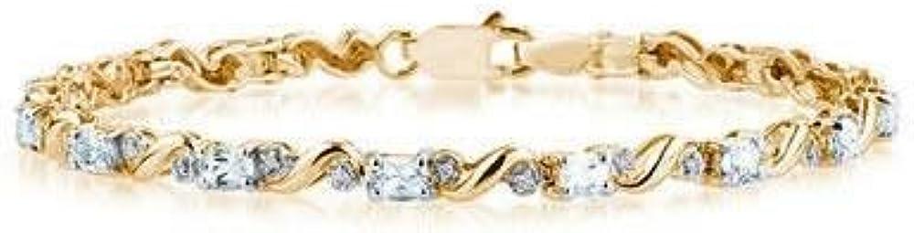 Szul bracciale da donna in oro giallo 10 kt con diamanti e pietra  acquamarina eye-clean
