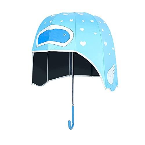 LJSF Paraguas de Casco, Paraguas de Palo de Burbuja Claro, Paraguas Plegable a Prueba de Viento, para Mujeres para Niños Fiesta de Viaje,Azul,L