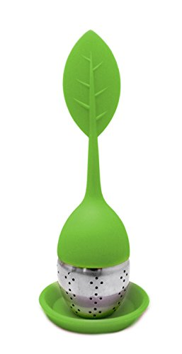 NERTHUS FIH 262 - Filtro de té forma de hoja de Silicona Libre de BPA y Acero Inoxidable, infusiones, colador de té