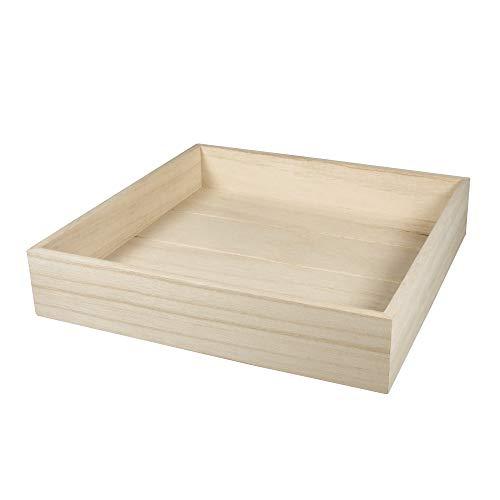 Rayher 62864505 Holz- Tablett für Dekozwecke, natur, 25 x 25 cm, Randhöhe 5 cm, Dekoschale, Dekotablett, Holzschale, FSC zertifiziert