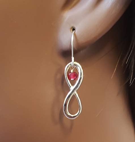 Natural ruby and infinity charm earrings with 925 sterling silver hook, eternity love dangle drop earring with genuine faceted july birthstone, gift for her on valentine