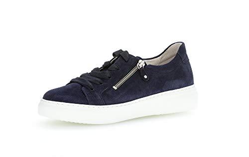 Gabor Damen Sneaker, Frauen Low-Top Sneaker,Best Fitting,Reißverschluss,Optifit- Wechselfußbett, sportschuh Plateau-Sohle,Bluette,37 EU / 4 UK