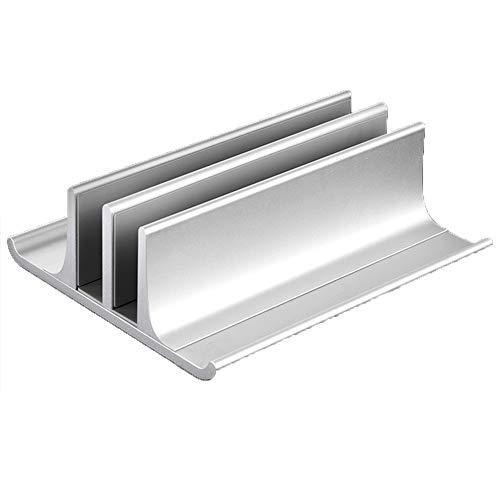 APROTII Adjustable Metal Vertical Laptop Stand Newly Designed 2 Slot Aluminum Desktop Dual Holder Up