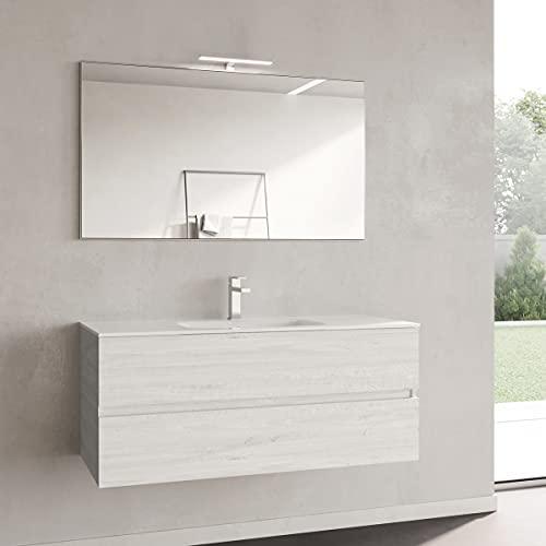 Yellowshop. - Mobile Bagno sospeso 120 cm Stile Moderno 2 cassetti lavabo specchiera LED MOD. Andre Plus (Alaska)