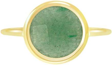 Green Aventurine 18k Gold Clad Wholesale Gemstone Round Ring 8 product image
