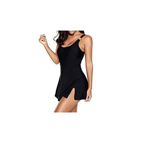 Kfhfhsdgsansyz Bañadores Mujer, Mujeres más Talla de Traje de baño Vestido de una Pieza de Gran tamaño Swimdressuits Soild Color Falda Bañera Trajes de baño (Color : Black, Size : 5XL)